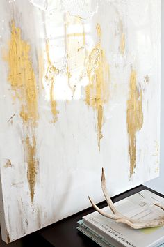 Abstract art in white and gold