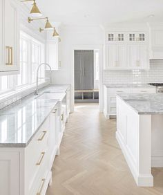 white kitchen design, cottage kitchen design with white shaker cabinets and . - white kitchen design, cottage kitchen design with white shaker cabinets and gold fittings, herringb - Home Decor Kitchen, Herringbone Wood Floor, White Kitchen, Kitchen Remodel, Interior Design Kitchen, Cottage Kitchen Design, Kitchen Remodel Small, Studio Kitchen, Modern Farmhouse Kitchens