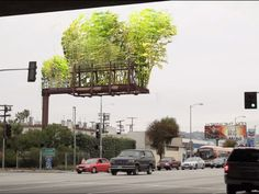 Created by Los Angeles artist Stephen Glassman, Urban Air represents an initiative to transform billboard structures into living, breathing, air-cleaning bamboo gardens. With Urban Air, the billboards are stripped of their commercial facade and replaced with architectural planters filled with living bamboo.
