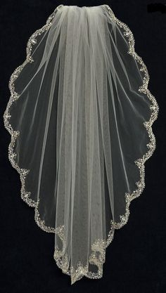 Extraordinary Fingertip Length Wedding Veil with Beaded Silver Scallop Embroidery - Affordable Elegance Bridal -
