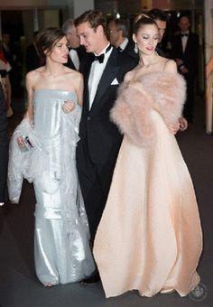 (L-R) Charlotte Casiraghi, Pierre Casiraghi and Beatrice Borromeo attend the Rose Ball at Sporting Monte-Carlo on 29.03.14 in Monte-Carlo, Monaco.