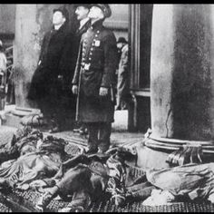 The Triangle Shirtwaist Fire [1911] Photographer: International Ladies Garmet workers Union Picture of bodies at the Triangle Shirtwaist Company. Company rules were to keep doors closed to the factory so workers (mostly immigrant women) couldn't leave or steal. When a fire ignited, disaster struck. 146 people died that day.