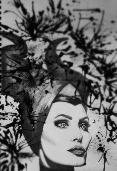 Maleficent. Sketch. Art. Angelina jolie . abstract splash.