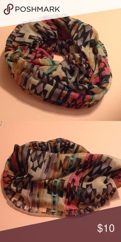 Colorful Aztec Print Scarf 100% Polyester. New without tags. Accessories Scarves & Wraps