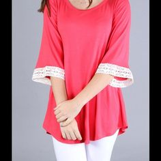 """DEAL OF THE DAY!!!Sweet Coral Top This sweet Coral top features lace detailing on the 3/4"""" sleeves. This top can be worn casually, or dressed up, but always comfy! Sizes Small, Medium, & Large. Polyester & Spandex. No trades or PayPal. Price is firm unless bundled. Please don't buy this listing, but let me know what size you would like & I will personalize a listing for you!  Boutique Tops"""