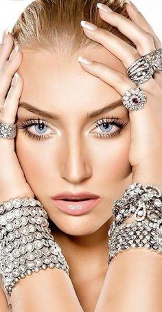 silver and rhinestones jewelry