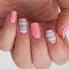 Pink, stripes nails Nail Art. Nail Design. Polishes. Polish, Romantic. Instagram by sophiesbeauty