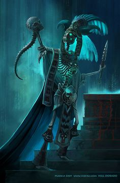 The death god for the aztecs. And yes, thats' not a human head, the aztecs are monkey like if you get the idea. Fantasy Creatures, Mythical Creatures, Dark Fantasy, Fantasy Art, Aztecas Art, Arte Sci Fi, Death God, Aztec Culture, Aztec Warrior