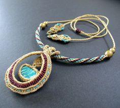 Macrame necklace amazonite statement necklace by Mediterrasian