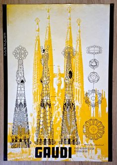 Architecture: Antoni Gaudí - Design: Jan van Toorn - 1971 Poster for the exhibition in the Van Abbe Museum _ Catawiki Online Auctions