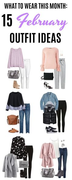 Welcome to the newest edition of What to Wear This Month! This month you're getting 15 February outfit ideas that highlight athleisure wear, layering for up and down temps and a few outfits featuring spring trends. #whattowear #outfits #outfitideas | Stylish outfit ideas for women who follow fashion.