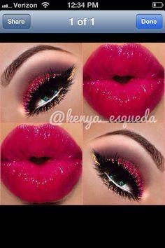 V-Day makeup Her lipstick Gold Makeup, Kiss Makeup, Eyebrow Makeup, Eyeliner, Glitter Makeup, Prom Makeup, Makeup Tips, Beauty Makeup, Makeup Ideas
