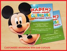 Mickey Mouse 1st Birthday Invitation   Personalized Digital File   Mickey  Mouse Clubhouse   Chevron   Polka Dot   Red Yellow Black And White |  Printable ...