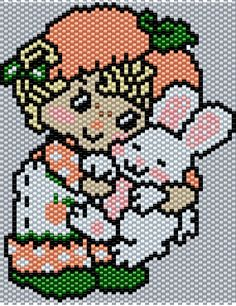 Apricot and Hopsalot Bunny from Strawberry Shortcake Brick/Peyote  Pattern 57 Columns X 57 Rows (Pattern by me, Man in the Book)