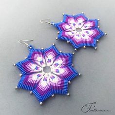 Mix color Macrame earrings Tribal earrings Flower earrings