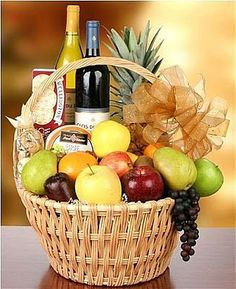 Wine & Fruit Gift basket idea. Great for clients and to say thank you. Wine of your choice.