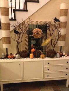 Three Times the Lady: Entryway fall decor