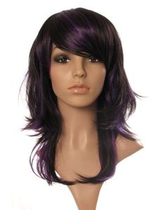 http://www.wonderlandwigs.com/294-320-thickbox/fleur-black-and-purple-razor-cut-layered-ladies-wig.jpg  Love this youthful deep side swept fringe and choppy layers!