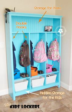 your own storage lockers! {Perfect for kids} DIY Storage Lockers for Kids -- No Mudroom? No problem! {}DIY Storage Lockers for Kids -- No Mudroom? No problem! Kids Storage, Locker Storage, School Bag Storage, Storage Ideas, Kids Backpack Storage, Backpack Organization, Diy Backpack, Creative Storage, Door Storage