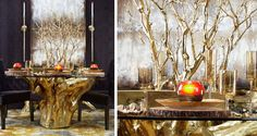 Dramatic glam dining room - gold sequoia table base, black walls, gold branches, wood rounds for plate chargers