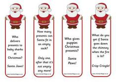 Spread some Christmas cheer and laughter with these fun little Santa bookmarks complete with jokes. Santa looks great with his head sticking out of a book, too! Christmas Tree Jokes, Christmas Crackers, Little Christmas, Christmas Fun, Holiday Fun, Holiday Games, Winter Holiday, Christmas Cookies, Christmas Decorations