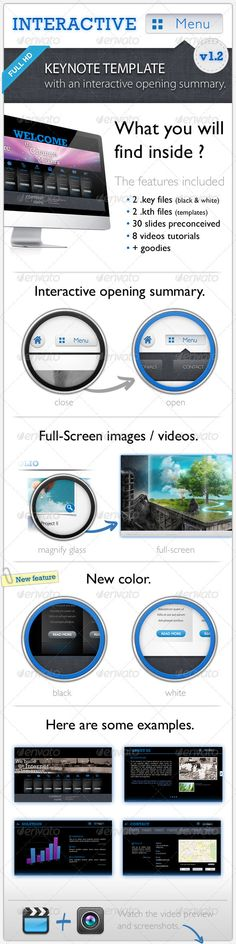 "Interactive Menu - Keynote Template Full HD  #GraphicRiver        Updates v1.1 : Add sub pages  v1.2 : New color theme ""Black""  Template features :  Interactive Menu is a Keynote Presentation Template in Full HD (1920×1080).  WATCH THE VIDEO PREVIEW :  This template allows you to make attractive presentation as a mini-websites. You will find in each slide, a button that opens a menu to access other categories.    The home page has a carousel animated images and presentation categories.  The…"