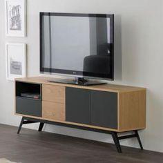 meuble tv 3 portes 1 tiroir alesia l 150 x l 35 x h 58