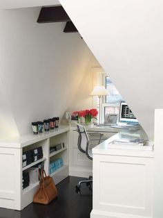 white Office Nook under a dormer - when a small space is well organized it works very well!