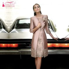 Find More Mother of the Bride Dresses Information about Real Photos Nude Pink Knee Length Mother Of The Bridal Dresses With Coat Plus Size Lace Sheath Short Sleeves Women Evening Dress,High Quality dress with a cape,China dress star Suppliers, Cheap dress male from Tanya Bridal Store on Aliexpress.com
