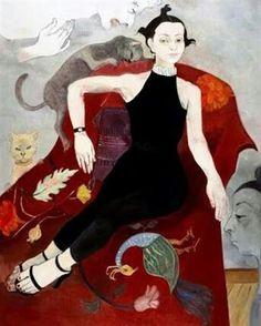 'Portre (Asude)' (Portrait—Asude) by Turkish artist Neş'e Erdok Oil on canvas, 162 x 130 cm. Crazy Cat Lady, Crazy Cats, Turkish Art, Bohemian Print, Z Arts, Figure Painting, Painting Art, Contemporary Paintings, Cat Love