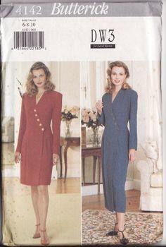 WOMEN'S SEWING PATTERN, Butterick 4142, Easy Mock Wrap Dress, button detail, two  lengths, Sizes 6-8-10, New, Uncut, Factory Folded