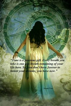 """""""Time is a precious gift. Every breath you take is one less breath remaining of your life here.  So, you don't have forever to honor your dreams; you have now."""""""