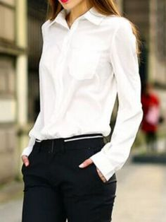Buy Lapel Long Sleeve Pocket Blouse from abaday.com, FREE shipping Worldwide - Fashion Clothing, Latest Street Fashion At Abaday.com