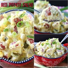 Red Potato Salad Red Potato Recipes, Vegan Potato Salads, Veggie Recipes, Salad Recipes, Cooking Recipes, Veggie Food, Cooking Tips, Easy Recipes, Making Potato Salad