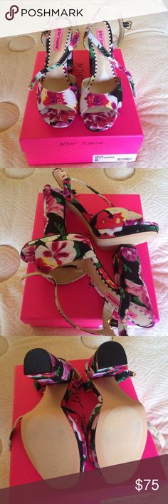 Betsey Johnson Black Floral platform sandals Betsey Johnson Multicolor platform floral sandals. Size 8. Gorgeous and sexy. New in box. Never worn, only tried on. Betsey Johnson Shoes Platforms