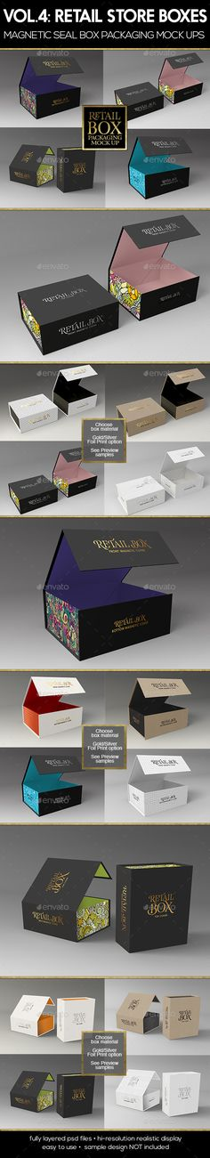Retail Boxes Vol.4: Magnetic Box Packaging Mock-Ups