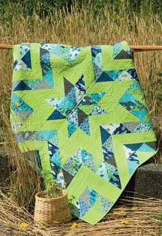 Beautiful color combination! Stars-within-stars quilt by Stephanie Dunphy, author of Uncommonly Corduroy.
