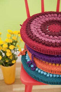 Crochet chair Rainbow Cushions
