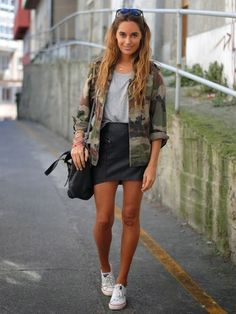 Grey t-shirt+black mini skirt+white sneakers+military jacket+black shoulder bag+sunglasses. Fall Casual Outfit 2016