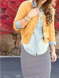 Cute layering, striped skirt