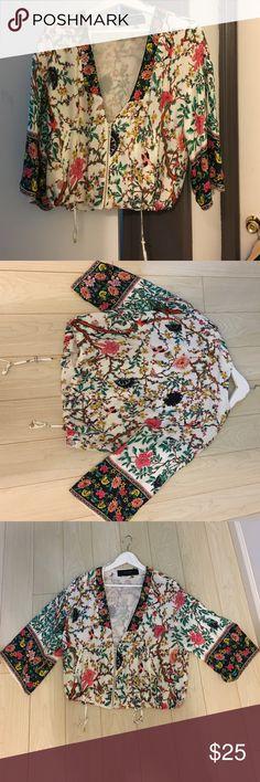 Zara Kimono Sleeve jacket Beautiful spring jacket with oriental bird /branch print. Zara Jackets & Coats
