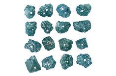 2.43 Ct Natural Loose Diamond Rough Drilling Bead Blue Color 16 Pcs K3089