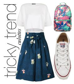 """Untitled #6"" by mbaxt ❤ liked on Polyvore featuring Topshop, Olympia Le-Tan, Converse, adidas, TrickyTrend and culottes"