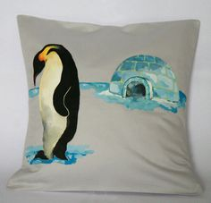 Pinguin Igloo Pillow Cover. Animal Decorative by FennekArtDesign