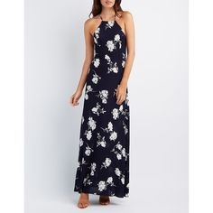 Charlotte Russe Floral Strappy Maxi Dress ($39) ❤ liked on Polyvore featuring dresses, white gauze dress, flower print dress, white a line dress, empire waist maxi dress and white maxi dress