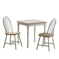 3 Piece Dining Set - White/Natural
