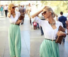 white button-down and a mint green maxi skirt.