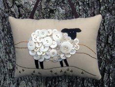 Primitive Ireland Sheep Embroidery Door Hanger - Original Design