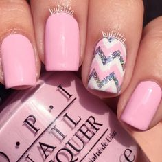 21 Pink Nails Designs to Look Romantic and Girly: Chevron Nail Designs to Show You're on the Top #pinknails; #nailart; #naildesign; #nails