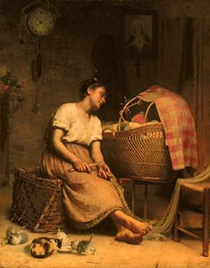 """I love this painting, """"Mother Love"""" by Paul Peel. A fisherman's wife waiting Oil on canvas at the National Gallery of Canada Art Ancien, Arte Country, Kittens Playing, Vintage Artwork, Mother And Child, Mothers Love, A4 Poster, Love Art, Oeuvre D'art"""